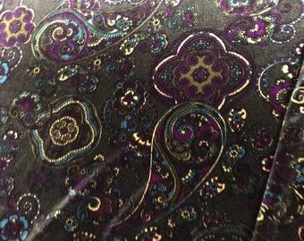 Paisley velour fabric/paisley velvet stretch/paisley velour stretch/elastic velvet gray with paisley print/gray paisley velvet.