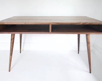 Mid Century Inspired Walnut Desk With Open Drawers And Angled Tapered Legs    Minimalist Clean Design MCM