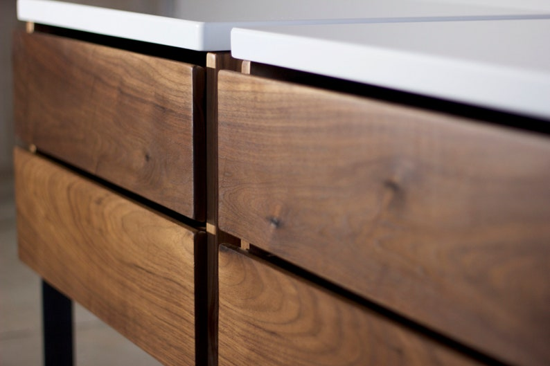 Quartz Countertop Soft-Close Walnut Side Table Quartz Steel Nightstand