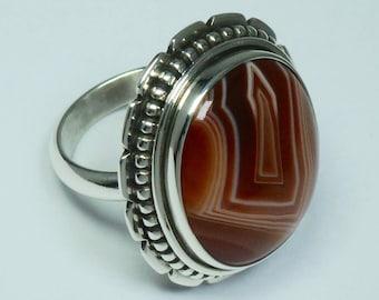 Agath, silver 925 ring. Agath cabochon silver 925 hand crafted ring. Agath ring.