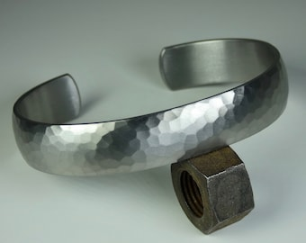 Domed hand crafted grade 2 titanium bracelet with hand hammered and satin brushed finish. Mens bracelet. Titanium jewelry.
