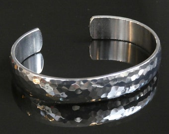 Solid grade 2 domed, all around polished and hand hammered titanium bracelet. Mens jewelry. Titanium bracelet. Titanium jewelry.
