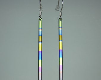 Long colourfull anodized titanium dangle earrings on silver earhooks. Titanium jewelry.