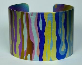 Anodized grade 2 titanium cuff bracelet. Titanium jewelry.