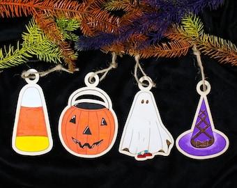Halloween Ornaments Set, Trick Or Treat Ornament, Halloween Tree Decor, Witch, Candy Corn, Ghost, Pumpkin, Handmade, Wood, Halloweentown