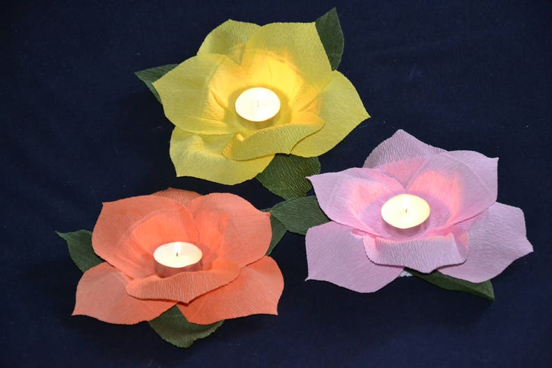 Paper Floating Lanterns Lotus Flower Wishing Lamp Water Light Etsy