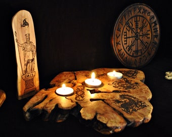 Wooden candle holder of juniper root. Unique piece decorated with Viking art. Artisan decoration pagan altar. Gift for Viking