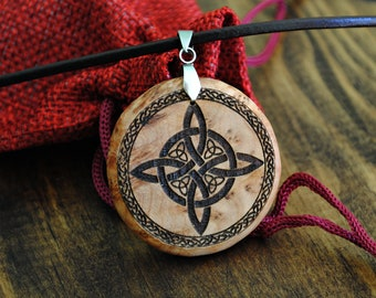 Necklace Knot of witches. Hanging Celtic amulet wood. Wicca protection. Custom pagan talisman. Lucky symbol. Handmade jewelry