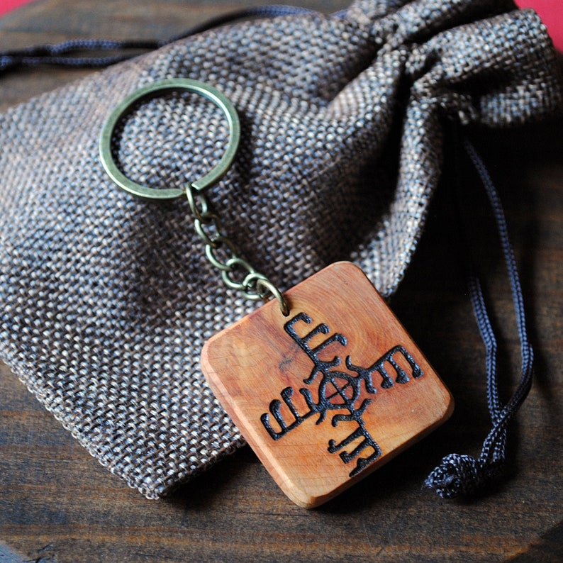 Viking talisman. Greasy juniper wood keychain with gapaldur image 0