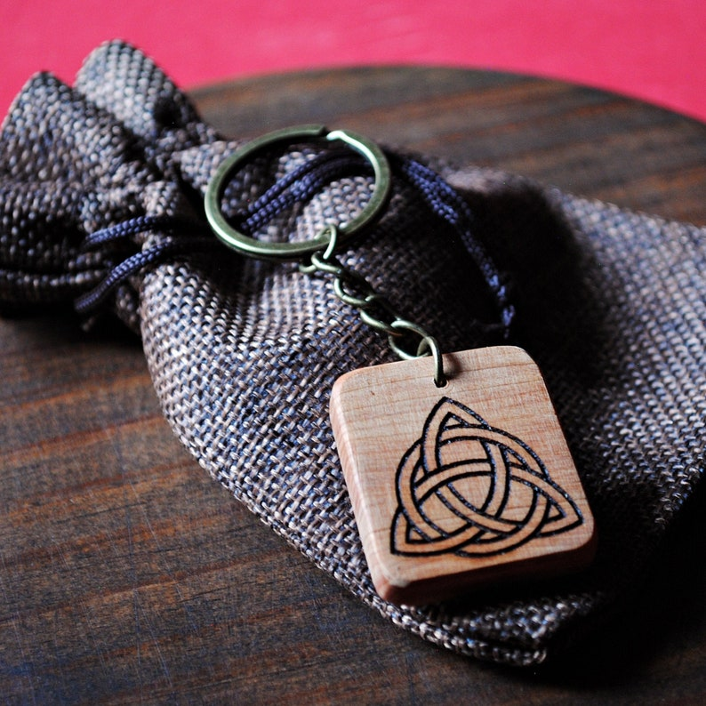 Celtic talisman. Key chain of Juniper Wood with Celtic image 0