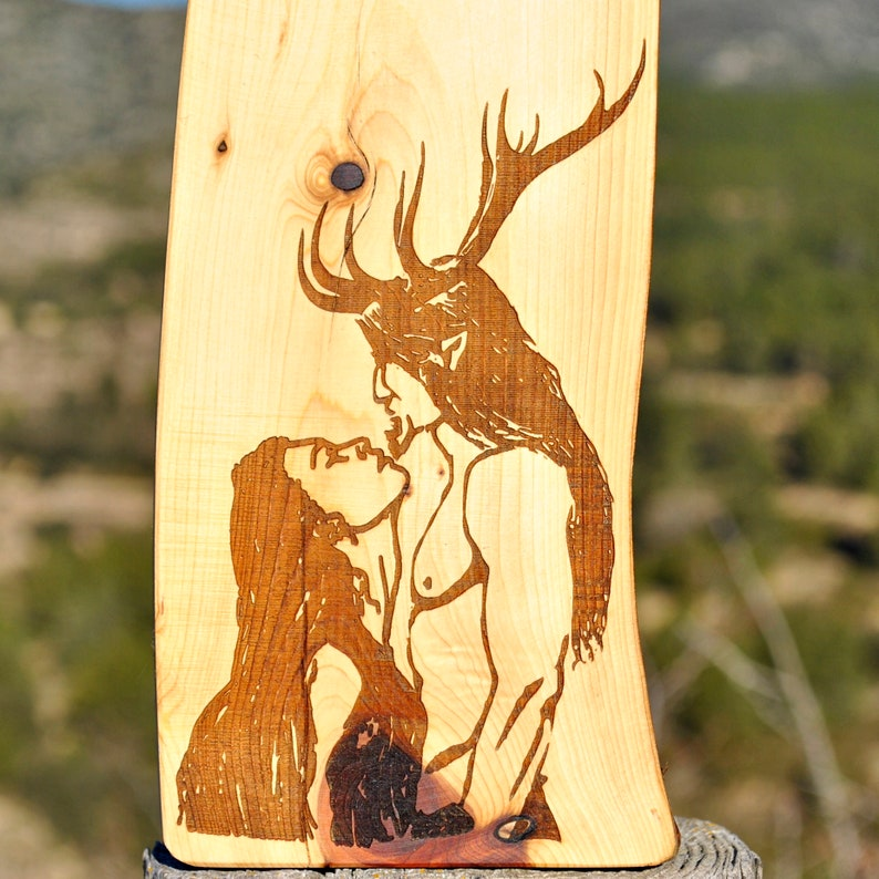 Cernunnos and Goddess engraved in juniper wood. Pagan Altar. image 0