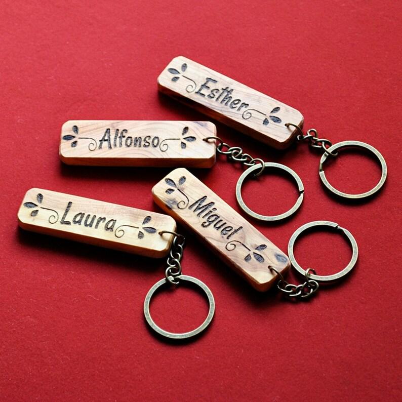 Named custom keychain. Juniper wood keychain. image 0