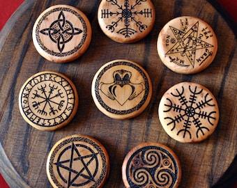 Personalized talisman. Pocket magic sigil. Wooden coin of luck. Pagan symbol of protection. Viking Runes. Meditation