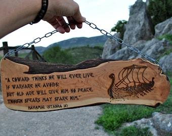 Poster viking ship and stanza poem hávámal. Viking decoration of wooden wall. Viking gift for him. Pagan home poster