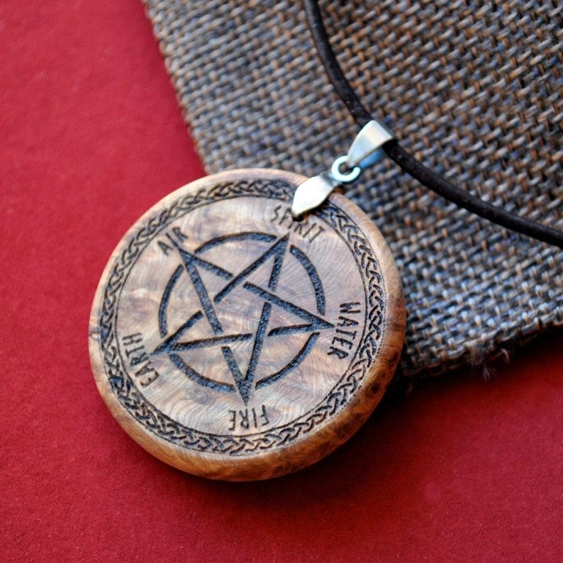 Pentacle wicca pendant. Pyrogravure juniper root pendant. image 0