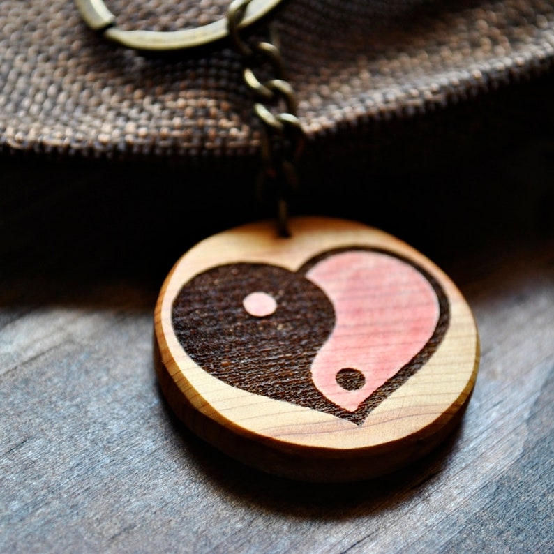 Heart yin yang. Pyro-etched and painted juniper wood keychain. image 0