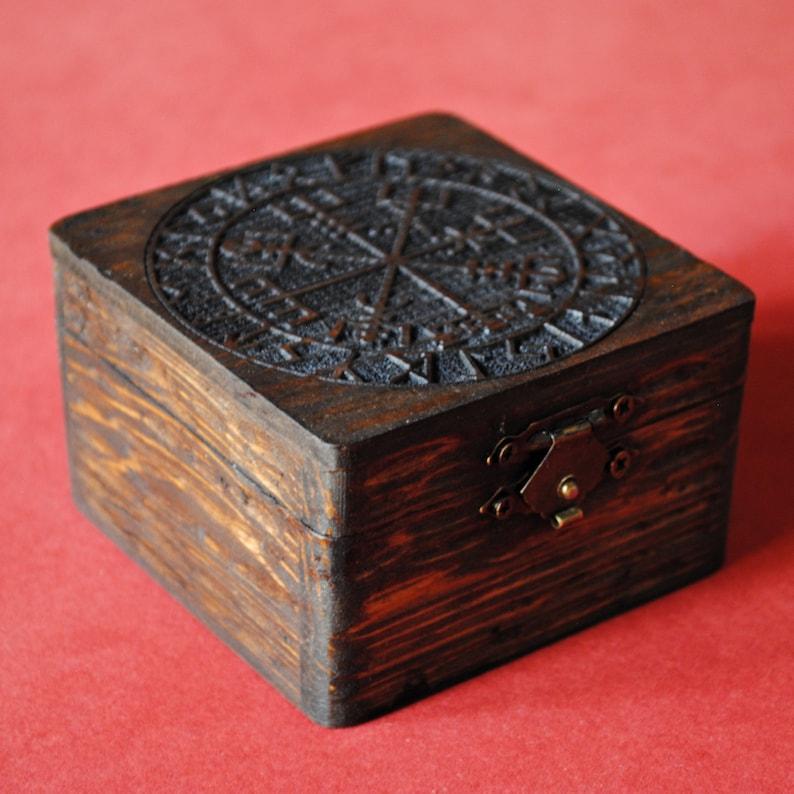 Vegvisir. Pine wood box engraved with Vegvisir and runes image 0