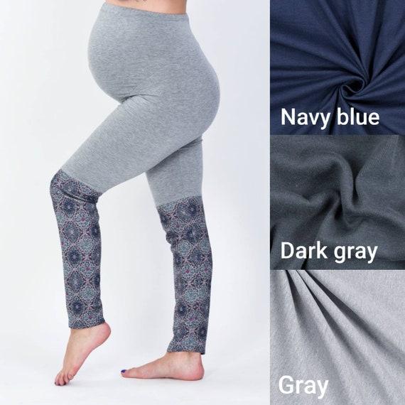 Maternité leggings, jambières de la grossesse, sur la bosse leggings mode maternité, vêtements de maternité, maternité, maternité élégant gris