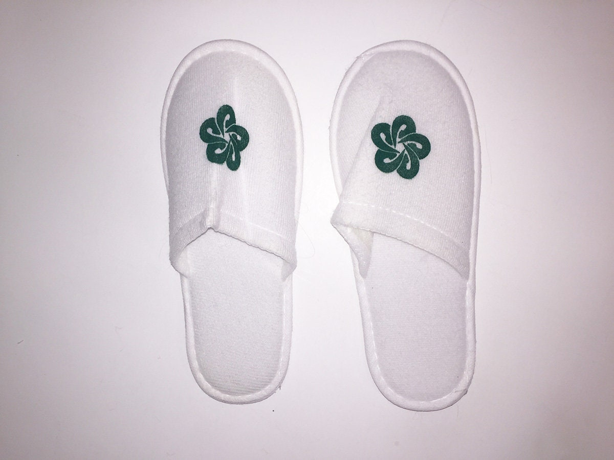 99cdfc3a4fc4e Pure White Super Soft Angelic Hotel/Hospital Slippers with Rounded Green  Starry Rose Symbol