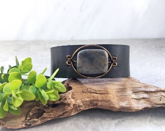 leather cuff with stone centerpiece/beaded leather cuff bracelet/snap leather cuff with copper and stone/boho leather cuff/ black snap cuff