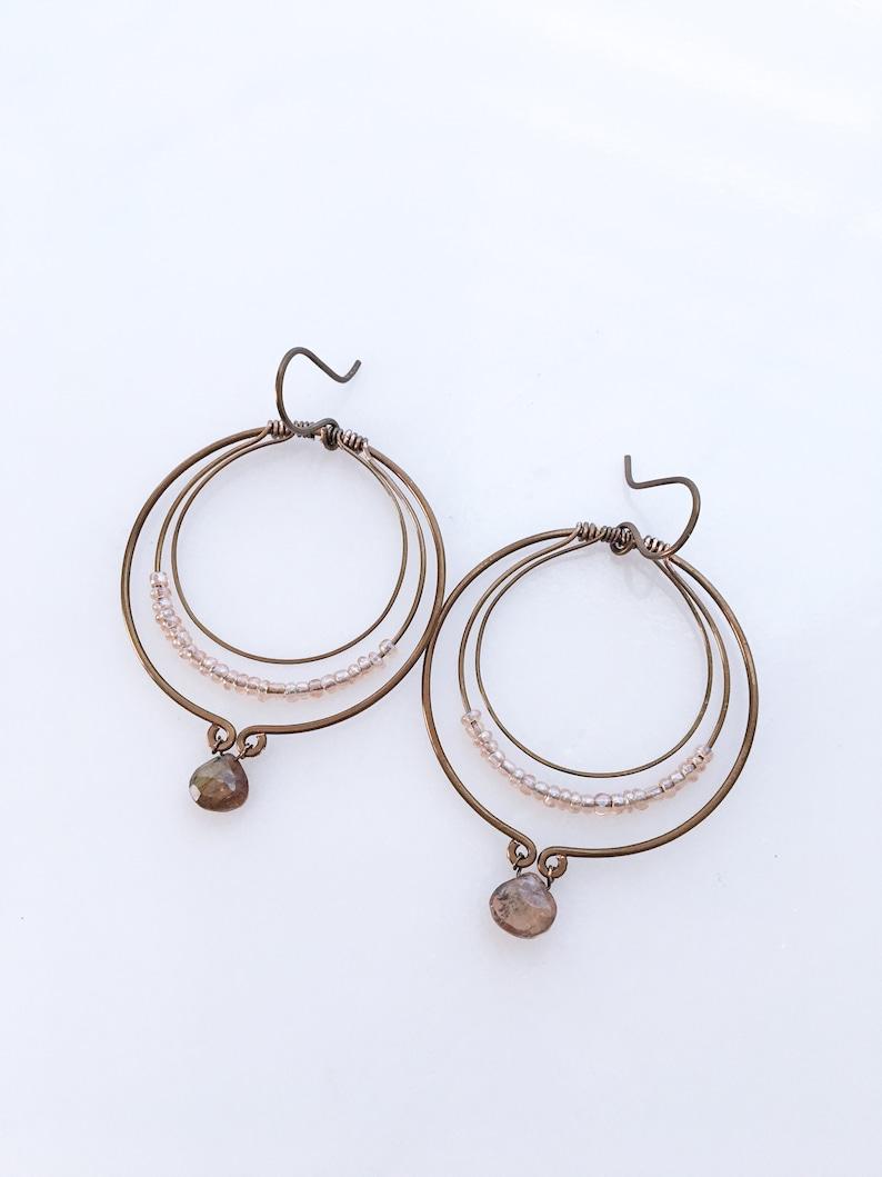 solid copper andalusite beaded layered hoop earringsgemstone beaded copper earringshandmade boho copper gemstone hoop earrings