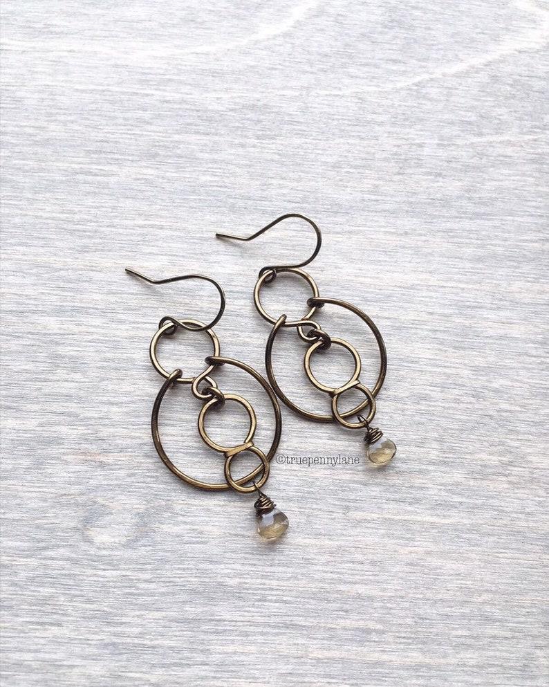 copper beaded earringstiny quartz stone beaded copper earringshandmade boho copper dangle earrings layered hoop gemstone earrings