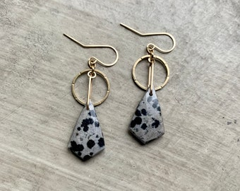 natural stone statement earrings, gold frames, animal print earrings, natural stone jewelry, boho earrings, beautiful boho jasper earrings