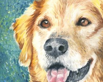 """Golden Retriever Giclée Art Print of Oil Painting - 8 x 8"""""""