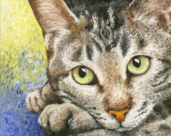 "Tabby Cat Art Print of Oil Painting - 8 x 10"""