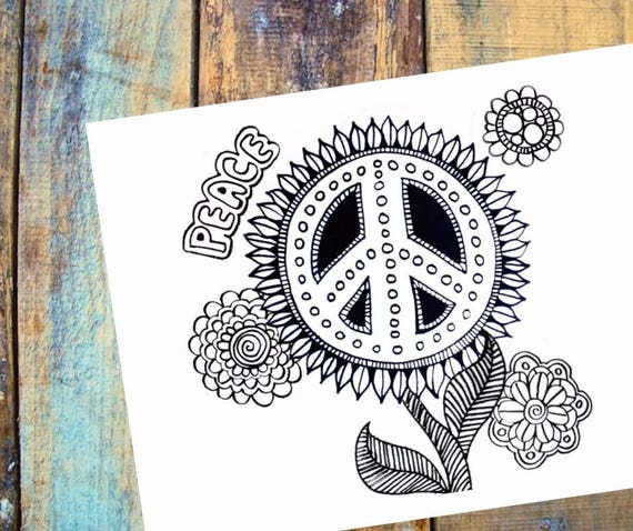 Peace floral flowers hippie peace sign coloring page | Etsy