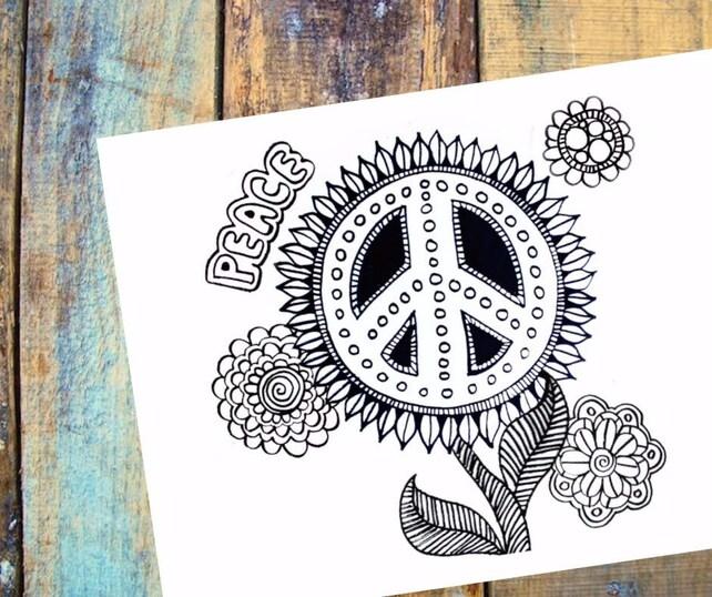 Paz floral flores hippie signo de la paz para colorear | Etsy