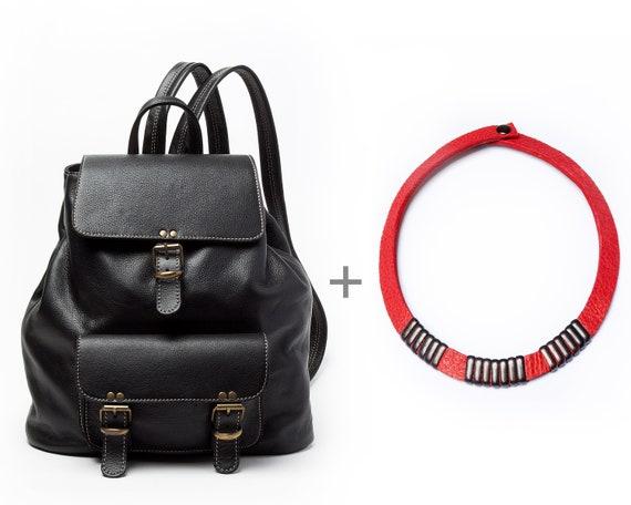 Black leather DrawString necklace