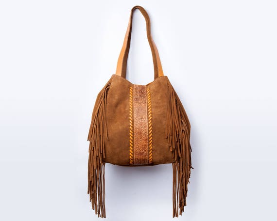 fdfdbf70a463 Suede fringe bag Fringe purse Leather hobo bag Leather fringe