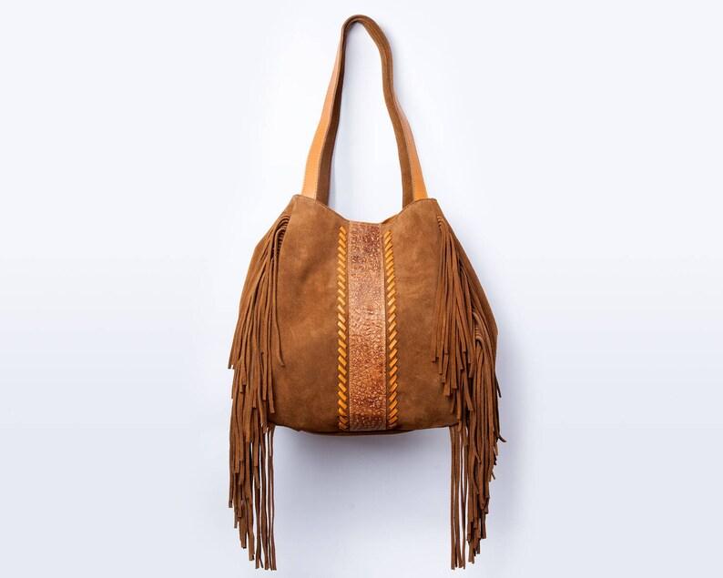 ffacd55ce88b8 Wildleder-Fransen-Tasche Fransen Handtasche Leder Hobotasche