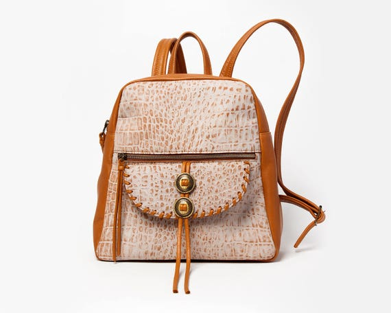 new release online for sale hot-selling fashion Small backpack purse Western leather bag Womens backpack Mini brown  backpack with pockets Casual backpack for women Leather Bag with concho