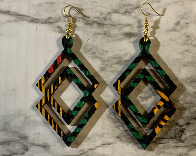 Double Diamond African Print Earrings