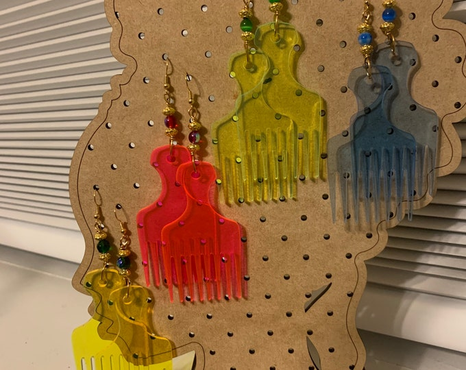 Fluorescent Acrylic Afro Pick Earrings