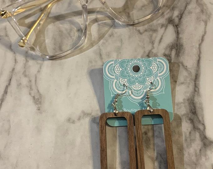 Wooden Rectangular Cutout Earrings