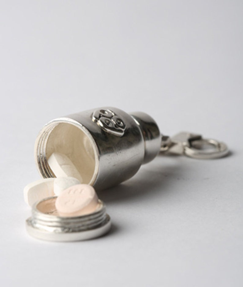 everyday carry gifts = /'pillvial/' handcuffs pendant pill case mini edc stash necklace burning man jewelry small pill box