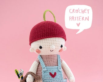 KIRA the cherry girl: original crochet pattern by Kurumi. Amigurumi pdf tutorial step by step with images.