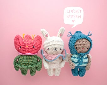 SPRINGTIME pattern: Hana the flower, Shiro the bunny & Amai the bee. Spring crochet pattern, amigurumi pdf pattern bee, flower and bunny