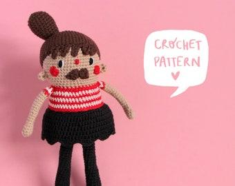 Lola crochet pattern, Lola doll amigurumi pattern, crochet doll pattern, Lola crochet tutorial, crochet mustache doll tutorial, pdf pattern