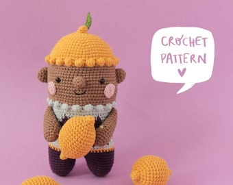 Lumi the lemon child crochet pattern, amigurumi lemon pdf pattern. lemon crochet pattern, crochet lemon step by step tutorial with images.
