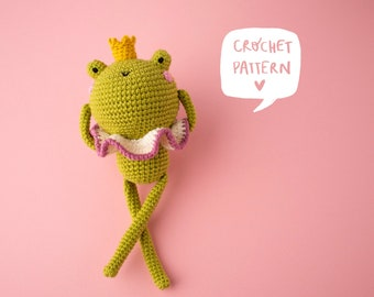 Harry the frog prince crochet pattern, frog amigurumi pattern, frog pdf crochet pattern, crochet frog step by step, frog crochet tutorial
