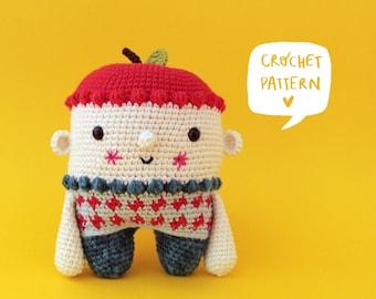 Nui the apple child crochet pattern, apple amigurumi pattern, apple amigurumi tutorial, crochet toy step by step, crochet apple pattern
