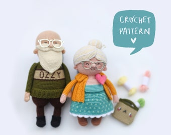 The old couple Zoe and Zach crochet pattern. The old couple crochet ebook, two toys in one pdf pattern.