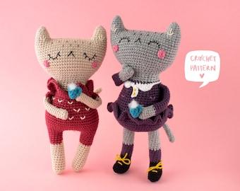 Amanda & Manu the cats crochet pattern: 1 pattern 2 kittens. Cat crochet pattern, cat amigurumi pattern, cat crochet tutorial, pdf pattern