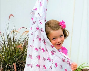 Peek A Boo Kitty - 100% Cotton Muslin Swaddle Blanket - baby shower, kitty, bow, hello, trendy, fun, toddler - 40X40