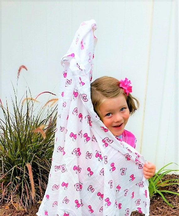 fun bow trendy Peek A Boo Kitty 100/% Cotton Muslin Swaddle Blanket hello toddler baby shower 40X40 kitty