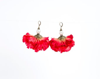 Petal Earrings in Red